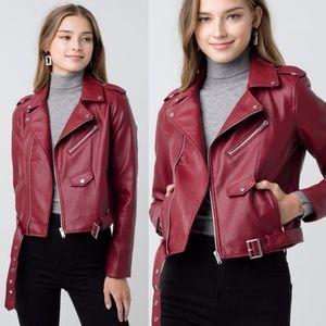 Chic Biker Jacket - RED
